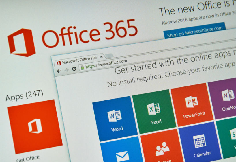 Microsoft Office 365 on PC screen