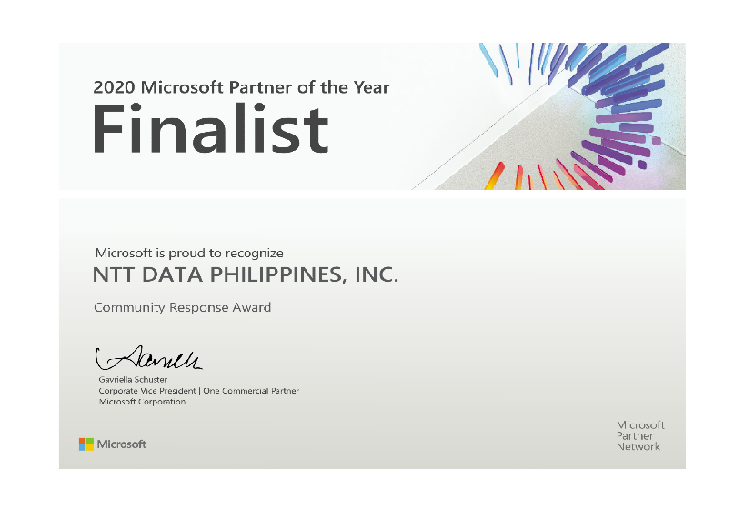 NTT DATA PHILIPPINES is recognized as Community Response Award Finalist in 2020 Microsoft Partner of the Year Awards